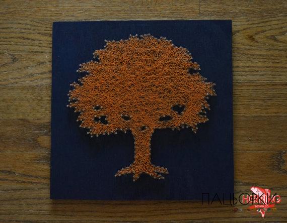 Картины из гвоздей и ниток дерево